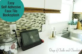 easy diy self adhesive faux tile backsplash days of chalk and easy diy self adhesive faux tile backsplash