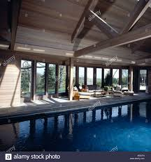 large indoor swimming pool in country barn conversion with comfy