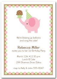 pink elephant u0026 cupcake invitations girls birthday invitations