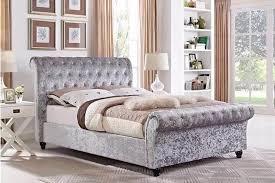 Velvet Sleigh Bed Chesterfield Crushed Velvet Sleigh Designer Bed Frame