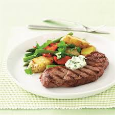 cuisine steak char grilled rump steak potato salad and garlic mayonnaise recipe