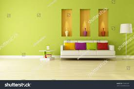 Greenliving by Minimalist Green Living Room Three Niche Stock Illustration