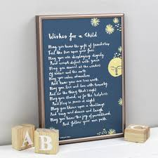 wishes for a child u0027 christening print from godparent by bespoke