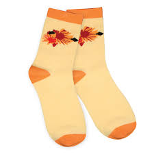 maxiaids womens socks with snaps orange flowers 1 pair