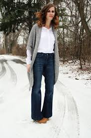 pintrest wide simple outfit idea grey cardigan wide leg jeans clogs