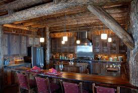 attractive log wooden plafond under unfinished rustic kitchen