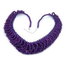 bead necklace style images Fashion style beautiful lady 39 s purple wood beads pendant choker JPG