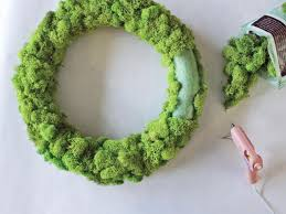 moss ribbon fresh fall decorating make a ribbon wreath hgtv