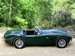 download original ac cobra green side view retro nature car