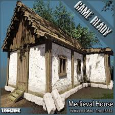 medieval house low poly 3d model cgtrader