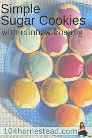 simple sugar cookies with rainbow icing