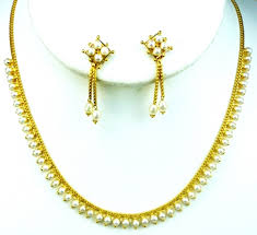gold pearl necklace sets images Gold pearl necklace set n0206 jpg