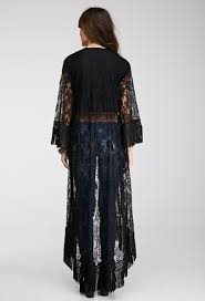 forever 21 fringed chantilly lace kimono in black lyst