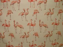 Bird Print Curtain Fabric Flamingos Vintage Linen Look Animal Print Designs Curtain