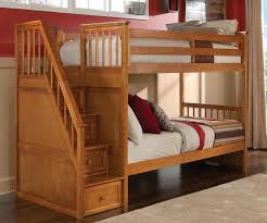 School House  Pecan Staircase Bunk Bed Bed Frames NE Kids - Ne kids bunk beds