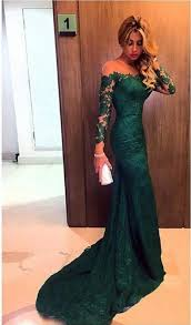 2017 dark green prom dresses long sleeve lace sheath evening gown