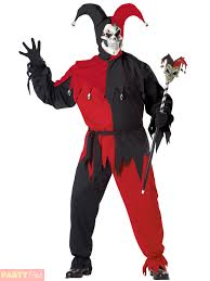 mens sinister evil medieval jester halloween fancy dress costume