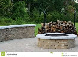 Stone Firepit by Outdoor Fire Pit Stock Photo Image 58193526