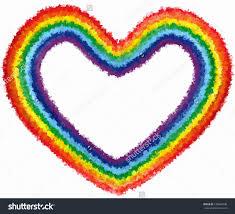 art rainbow colors abstract paint love heart isolated stock photo
