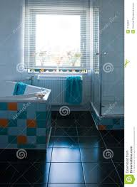 colorful white bathroom with black floor royalty free stock