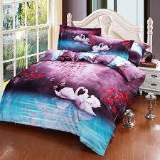 Duvet Covers For Queen Bed Swan Flower Oil Painting Bed Duvet Cover Flat Sheet Pillow Shams 4