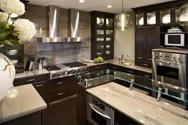 glass top kitchen island decorating with glass cabinets doors brings light into modern