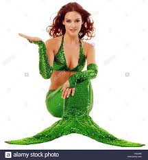 Mermaid Fairy Mermaid Sit Gesture Concepts Woman Young Hairs Red Lining