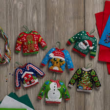bucilla seasonal felt ornament kits sweaters 86674