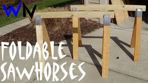 how to make simple folding sawhorses youtube
