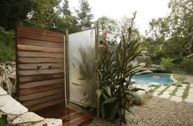 outdoor wood wall 33 design ideas for wooden and metal outdoor shower enclosures