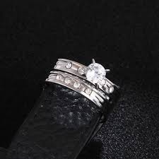 stainless steel wedding ring sets stainless steel wedding ring for ip silver color cz