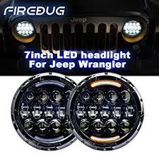 headlights jeep wrangler amazon com firebug jeep headlights 105w 12600 lumens hi lo beam
