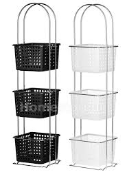 3 tier storage caddy plastic basket holder unit stand chrome frame