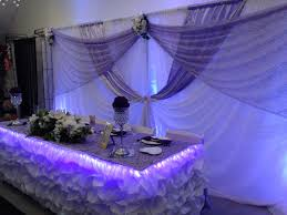 wedding backdrop themes lilac white backdrop with uplighting and table display with