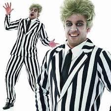 Referee Halloween Costume Men Mens Striped Suit Ghost Halloween Fancy Dress Costume 1980s Scary
