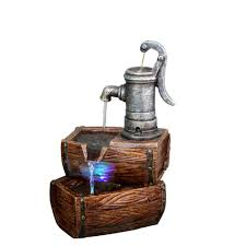 Outdoor Water Fountains With Lights Alpine 2 Tier Barrel Fountain With Led Lights Win826 The Home Depot