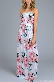 tube floral maxi dress with pockets white u0026 pink