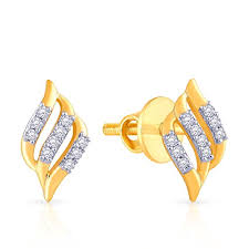 malabar earrings malabar gold and diamonds 18k yellow gold and diamond stud