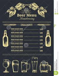 beer menu design template vector pub restaurant card with hand