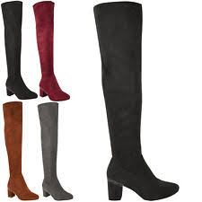 womens stretch boots size 11 leather look heels thigh high the knee stretch