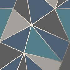 fine decor apex geometric wallpaper metallic rose gold black