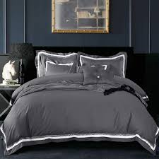 Grey Bedding Sets King 4pc 100 Cotton Luxury Satin Fabric Solid Color Grey Duvet