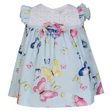 monnalisa baby girls pale blue butterfly print dress and