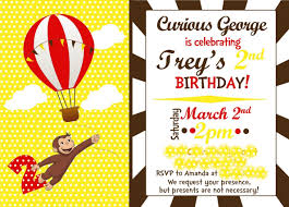 printable curious george birthday invitations with alluring layout