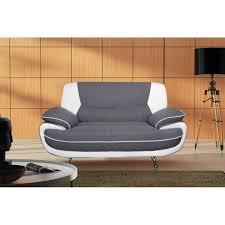 canapé fixe 2 places tissu spacio canape fixe simili et tissu 2 places 162x85x43cm gris et