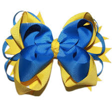 blue and yellow ribbon usd1 5 pc big stacked boutique bows with 6cm royal blue yellow