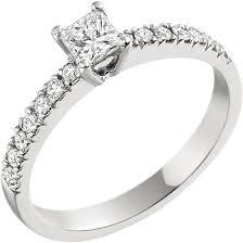 inel diamant inel de logodna solitaire cu diamante mici pe lateral dama aur alb