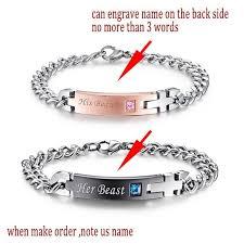 name link bracelet images Couples romantic cute matching id charm pendant bracelet link chain fa jpg