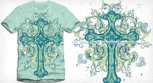vector cross t shirt design with floral ornaments vector t shirt