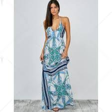 light blue halter maxi dress halter low cut a line floral backless maxi dress backless maxi